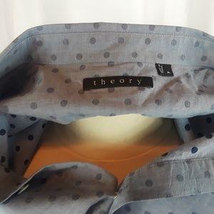Theory Shirt XL Gray W Faded Dot Design Btn Dn